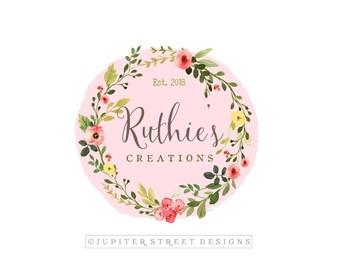 Wreath Logo-Watercolor Flower Logo-Peony Logo-Nature Logo-Pink Logo-Branding