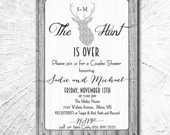 """Couples Shower Invitation...""""Hunt is OVER"""" / DIGITAL FILE / printable / wording can be changed"""