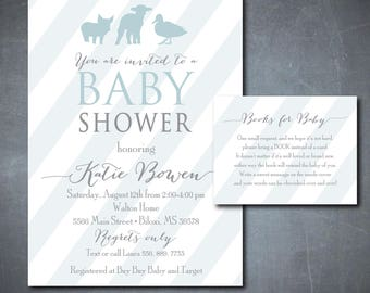 Baby Animals Shower Invitation simple printable/farm, simple baby boy shower, blue and gray/Digital File/wording and colors can be changed