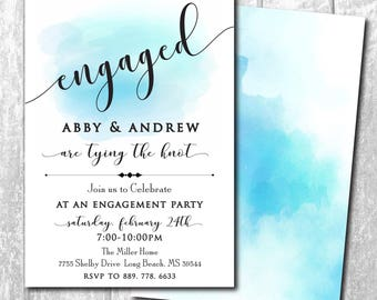 Engagement Party Invitation watercolor simple printable/Digital File/classic, calligraphy, blue, black, white wedding/Wording can be changed