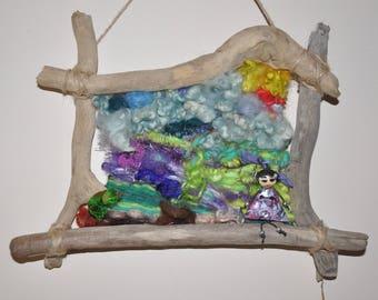 "Frame wood and weaving ""Nebula"""