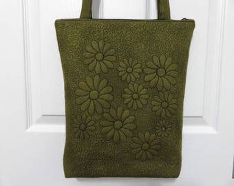 Quilted Green Tote Bag, Zipper Tote, Quilted Bag