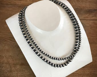 Navajo Pearl necklace 6mm 8mm multi strand sterling silver