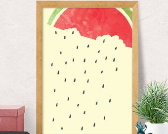Watermelon print, cute fruit print, nursery wall art, modern nursery decor, nursery wall decor, kids room decor, cute nursery