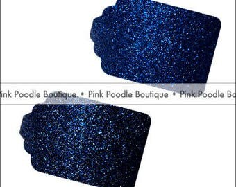 Glitter GIFT/FAVOR TAGS (12 pc) -- Electric/Neon Blue