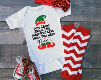 Nana Who Cares About A Naughty List When You Have Newborn Baby Toddler Short Sleeve Bodysuit Tee Shirt Christmas Elf Holiday Grandparent