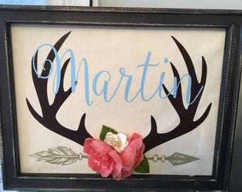 11x14 Personalized last name deer antlers --anniversary gift/family gift