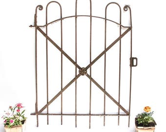 Antique Wrought Iron Fence Gate, Architectural Salvage, Victorian Era Front Gate with Flower, 1800s, Garden Decoration, Rustic Home Decor