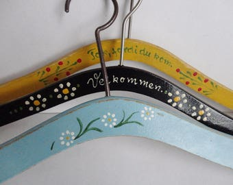 50s Hand Painted Vintage Hangers // Set Of 3 // Made In Denmark