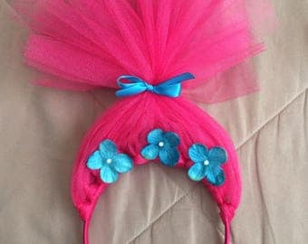 Princess Poppy Headband, poppy headband, trolls headband, trolls party, trolls, poppy troll, troll costume, princess poppy, trolls hair