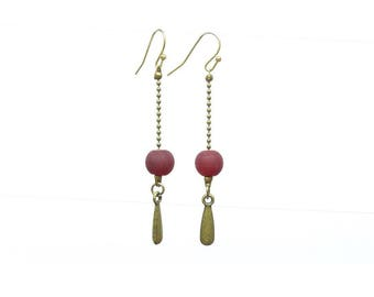 Bahia - Earrings, frosted Burgundy Red Indian bead
