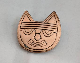 Pre-Columbian Cat Brooch - 250 B.C. to 125 A.D. - Peru