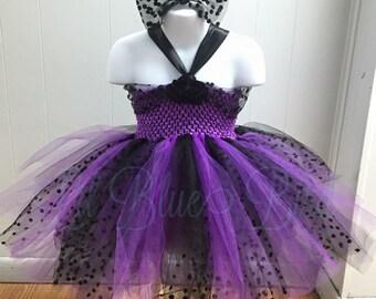Purple & Black Polka Dot Party Dress