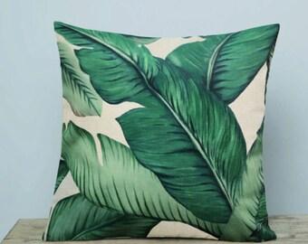 Palm Leaf Green Garden Jungle Pillow Cushion Cover Linen Cotton