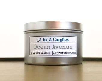 Beach Candle, Summer Candle, Salty Sea Air, Sun and Sand, Pink Sands Candle, Ocean Candle, Ocean Avenue Candle, Soy Candle, Tin Candles