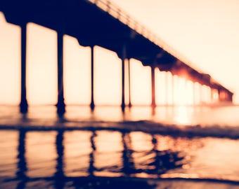 Beach Decor Coastal, Large Beach Photography, La Jolla Pier, Coastal Decor, Sunset, Seascape, Ocean Print, Beach Photo, Abstract Ocean Art