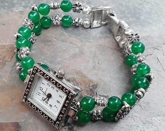 Beaded Jade Green Watch Bracelet, Green Jewelry, Jade Jewelry, Jade Bracelet, Gemstone Bracelet ,Gemstone Jewelry,  Ladies Watch, Jade Gift