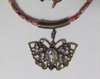 Butterfly, purple flower cabochon necklace