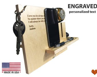 Mothers Day Gift, Gift For Wife, Girlfriend Gift, Gift For Her, Docking Station, Personalized Cell Phone Stand