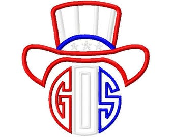 Uncle Sam Hat Initial Monogram Star Spangled Patriotic 4th of July Design Embroidery Applique Instant Download Digital Design