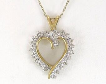 Estate 10K Yellow Gold .05ct Genuine Diamond Heart Pendant 2.4 gram