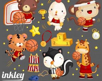 50%OFF!! Basketball Animal Clipart - Cute Clipart, Animal Clipart, Fun Clipart, Clipart Set, Adorable Digital Clip Art