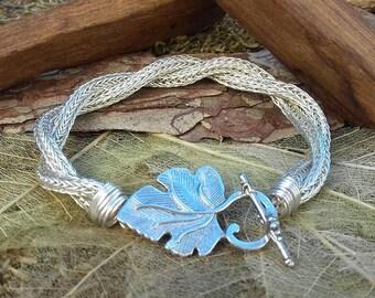 Bracelet woven in viking knit (950 silver)