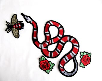 Cori Red Snake With Fly And Roses,Fly Snake Applique,Snake With Rose,Snake With Fly,DIY Craft
