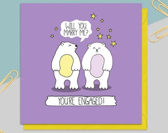 Engagement Bears Card - Bride To Be - Wedding Card - Engagement Gift - Greetings Card - Card for Her - Mr and Mrs - Mr and Mr - Mrs and Mrs