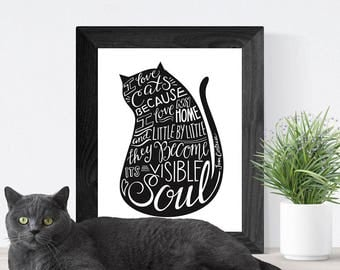 Hand Lettered Quote Wall Art, Art Print, Home Decor // Cat Lover Quote Print // I Love Cats Because I Love My Home..