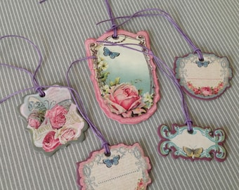Set of 5 Victorian style tags. Butterfly collection. Set of 34.