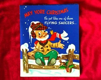 1940's Christmas Flying Saucer Santa Claus Card Unused!