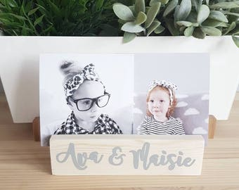 Wooden photo / print holder - personalised decorative photo holder - modern print holder