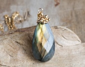 Labradorite Pendant Necklace in Gold, Golden Flash Labradorite Pear Pendant, One of A Kind Jewelry, Wire Wrapped Jewellery