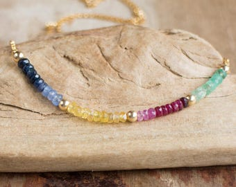 Gemstone Rainbow Necklace, Emerald, Ruby, Sapphire Necklace, Multi Stone Jewellery, May- July-September Birthstone Necklace, Wife Gift