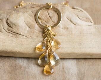Citrine Cluster Necklace in Gold, November Birthstone, Citrine Jewelry, Five Stone Citrine Pendant, Gemstone Jewellery, Wife Gift