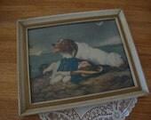 "Vintage Sir Edwin Henry Landseer ""SAVED"" Picture Egg Rock Shore Framed Painting - Milo Rescue Dog - Boston North Shore - Shabby white Frame"