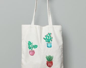 Canvas Tote Bag - Tote Bag - Reusable and Washable Bag - Organic Cotton - Organic Tote - Screen Printed Cotton Grocery Bag - Flower Pots