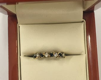 Vintage 9ct Yellow Gold Sapphire and Diamond Eternity Ring Size L