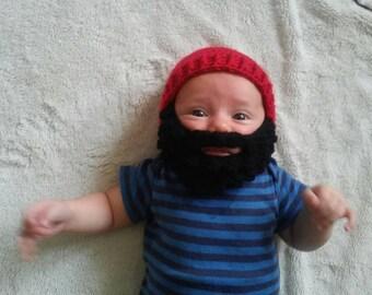 Baby beard hat. Black beard with red beanie. Custom any size or color. crochet beard hat. Beard beanie. Lumberjack hat. Newborn/ 0- 3 months
