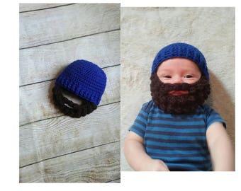 Baby Beard Hat. Baby Lumberjack. Toddler Beard beanie. Any size. Blue beard hat. Brown beard. Baby Woodsman hat. party invites. Halloween