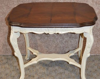 Vintage/Antique Shabby Cottage Chic Distressed Side Table w/Inlaid Walnut Top