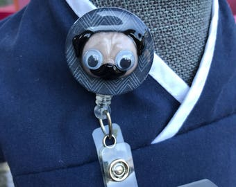 Googly Eyed Pug ID Badge Reel/Velcro Backed and Interchangeable/Pug Lover Retractable ID Badge Reel