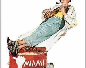 """Miami Bound and Santa On a Train were painted by Norman Rockwell in 1940. The page is approx. 11 1/2"""" wide and 15"""" tall."""