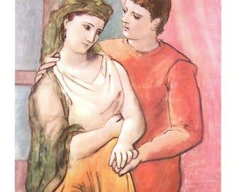 """Pablo Picasso, The Lovers Painted in 1881. These Bookplates are book copywrited 1966. The pages are approx. 11"""" wide and 15"""" tall."""