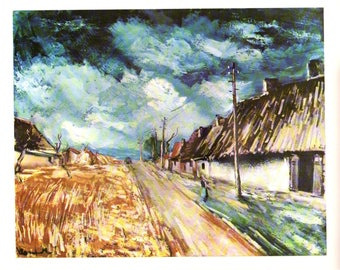 """Maurice de Vlaminck painted Les Chaumieres. These Bookplates are book copywrited 1966. The pages are approx. 11"""" wide and 15"""" tall."""