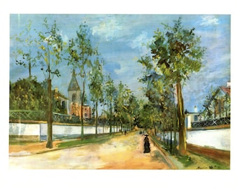 """Maurice Utrillo's A Street in the Suburbs. These Bookplates are  copy write 1966. The pages are approx. 11"""" wide and 15"""" tall."""