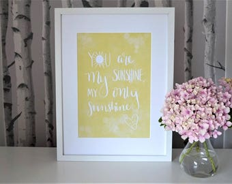 Personalised 'You are my sunshine' anniversary or wedding A4 yellow print