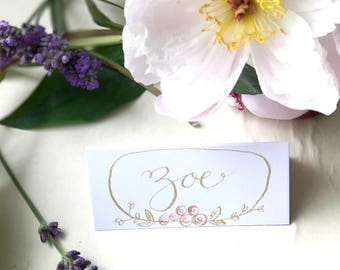 Floral Place Name Cards, Personalised Wedding Table Decoration, Wedding Stationery, Country, Calligraphy, Handmade, Vintage, Wedding cards