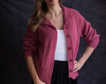 Cozy, warm, pink sweater hand knitted